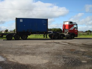 The container lorry setting off for Grangemouth