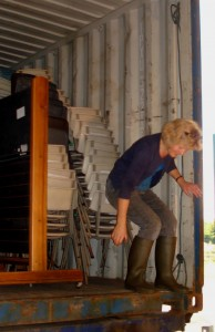 Wilma negotiating the step down from the container